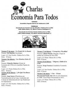 """""""ECONOMÍA PARA TODOS"""": programa de las jornadas organizadas por la Asamblea de Valdezarza"""